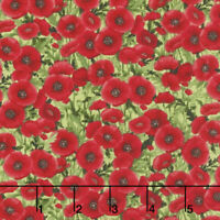 Timeless Treasures Floral Poppy packed Red Green 100% cotton fabric by the yard
