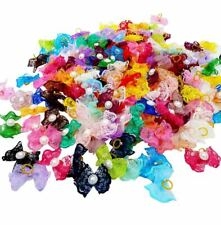 300Pcs Dog Hair Bows W/Rubber Bands Pearl Lace For Puppy Pet  Grooming Accessory