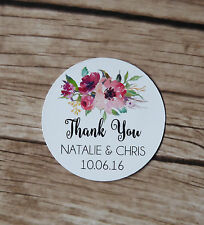 100 Personalised Wedding Stickers - Glossy Floral Round Stickers, Engagement