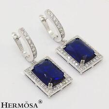 75% OFF Beautiful Genuine 925 Sterling Silver Ocean Dark Blue Sapphire Earrings