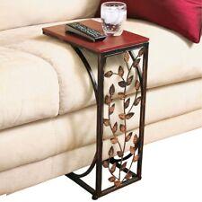 Burnished Metal Sofa Side Table – End Snack Table w/ Leaf Design