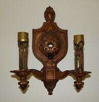Vintage Cast Metal Art Nouveau Deco Double Light Wall Sconce Fixture