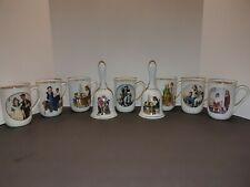 New ListingNorman Rockwell Collection 1982 7 Coffee Mugs Cups Gold Trim & 2 Bells