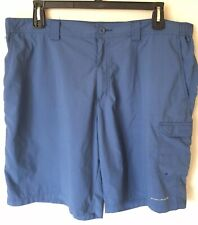 "Men's Columbia PFG Nylon Cargo Shorts Omni-Shade Size 40 with 10"" inseam Blue"