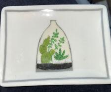 "Creative Co-Op Little Studio Trinket Tray Terrarium Ceramic Small 4"" White Green"