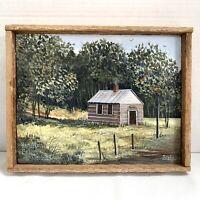 Jeff Stokes Signed Folk Art Oil Painting /Hamilton One-room School Rockbridge VA