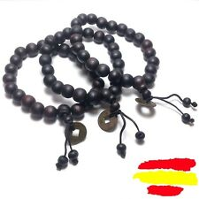 Rosario Budista Tibetano Buda Budista Pulsera Brazalete Madera Vintage Amuleto