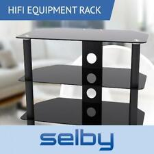 3 Shelf Rack Tempered Glass HIFI Equipment Stand 650mm Wide up to 20kg Black