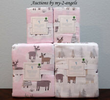 New Pottery Barn Kids Winter Reindeer Flannel F/Q Duvet + Shams + Full Sheet Set