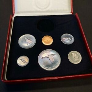 1967 Canada Centennial 6 Coin Silver Set in Box, Rainbow Toned- Medal Missing
