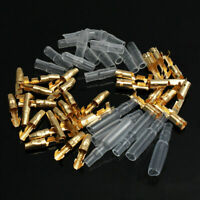 50 Set 3.9mm Motorcycle Brass Bullet Connector Terminal Male & Female With Cover