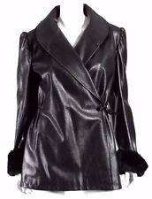 SONIA RYKIEL Vintage Black Snake-Embossed Leather & Faux Fur Coat