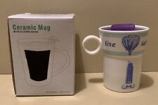 Ceramic White & Blue Mug & Featuring The Leaning Tower Of Pisa + Silicone Lid