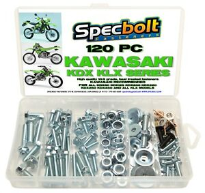 120pc Bolt Kit Kawasaki KDX 175 200 220 225 250 KLX KLR 110 Plastics body frame