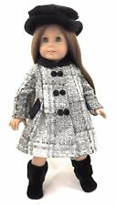 Doll Clothes for 18 inch American Girl-Gray & Black Tweed Coat & Black Hat