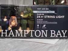 12-Light 24 ft. Black Commercial Incandescent String Light by Hampton Bay