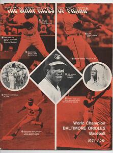 1971 BALTIMORE ORIOLES Program Sept 15 vs Yankees FRANK ROBOINSON cover