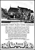 1927 La Salle automobile villagers homes Cadillac car vintage art print ad