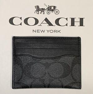 NWT Coach Slim ID Card Case In Signature Canvas Charcoal Black F58110