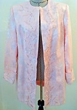 Mark 14W woman plus pink jacket long blazer pearl embroidery floral print size
