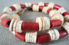 """Vintage Red """"Coral"""" Glass & Natural Sea Shell Choker Necklace 16"""" Long - Estate"""