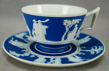 Wedgwood Neoclassical Dark Blue & White Jasperware Tea Cup & Saucer C. 1891-1908