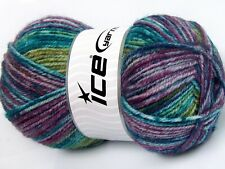 Lot of 4 x 100gr Skeins Ice Yarns JEANS WOOL (50% Wool) Yarn Green Turquoise ...