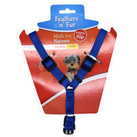 "Dog Harness - BLUE - Fits chest up to 35cm or 13.7"" Inch Brand New"