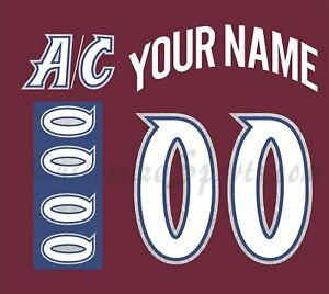 Colorado Avalanche Customized Number Kit for 1999-2007 Burgundy Jersey