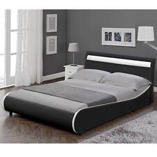 B-WARE LED Design Polsterbett 140x200cm Schwarz Doppel Bett Rahmen Kunst-Leder