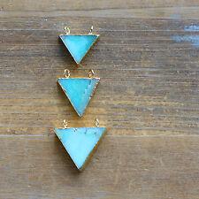 1 Triangle Amazonite Pendant w/ 24K Gold Plating Flag Connector Gemstone Jewelry