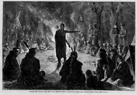 INDIANS AROUND THE COUNCIL FIRE YOUNG BRAVE'S SPEECH INDIAN FEATHER TEEPEE 1873