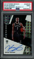 2019-20 Mosaic Black Auto 1/1 Kevin Durant PSA 9 1st Year Brooklyn Nets Jersey