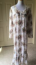 Victoria's Secret Gold Label Country Floral Cotton Long Sleeve Nightgown Sz M/L