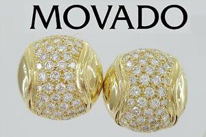 Movado 18K Yellow Gold 2.0 ct Pave Diamond Omega Back Earrings 18 mm 13.9 Grams