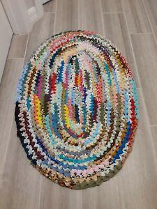 Handmade Crochet Fabric Oval Area Rag Rug Mat Traditional Multicolor  34 X 23