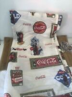 VINTAGE COCA COLA COKE POLYESTER SHOWER CURTAIN W/ COCA COLA 11 HOOKS