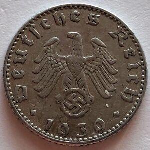 GERMANY: Third Reich: 50 reichspfenng 1939 J, aluminum, Swastika