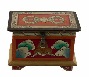 Dose Schmuckkästchen Tibetischer Vajra Buddhistisches 20cm Jewel Fleur De Lotus
