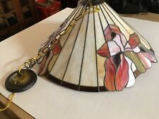 Vintage Tiffany Style STAINED GLASS PENDANT Light Fixture or LAMP SHADE Original