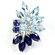 925 Sterling Silber Design-Ring, 6 St. Blaue Saphir & 6 St. Hellblaue Topas, Neu