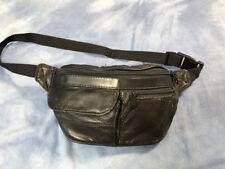 Vintage Patchwork Fanny Pack Black Leather Festival Hip Pouch Bum Bag