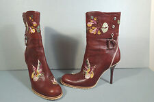 Dior 36.5 Brown Leather Tapestry Floral Embroidered Ankle Boot Round Toe Bootie
