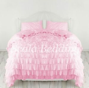 1000 TC Egyptian Cotton US Waterfall Ruffle 3 PC Duvet Set All Color & King Size