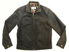 Johnston & Murphy Mens Leather Racer Jacket Size Small Brown Suede Excellent