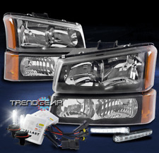 FOR 2003-2006 CHEVY SILVERADO REPLACEMENT BLACK HEADLIGHT LAMP W/DRL LED+HID KIT
