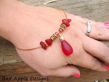 Red Sea Glass Ruby Crystal Gold Bangle Bracelet Beach Boho Hawaii Teardrop Surf