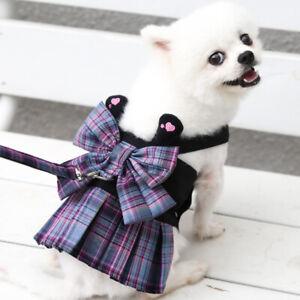 Small Dog Dress Harness and Leash Set Puppy Girl Dog Dress Plaid Skirt Maltese