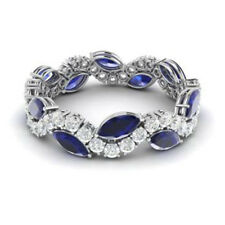 Sapphire Wedding Ring Diamond Eternity Band 14K White Gold Certified 3.40Ct Blue