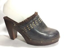 "Dressbarn Womens 6 M Faux Leather High Heel Clog Mules Brown ""Judy"" Shoes Stud"
